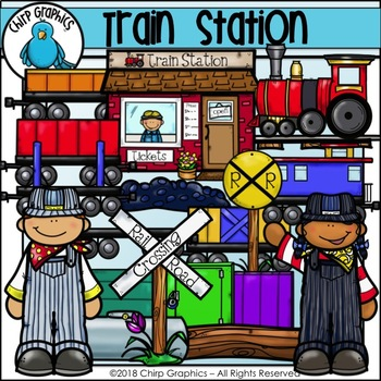 Train Station Clip Art Set - Chirp Graphics