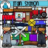 Train Station Clip Art Set - Chirp Graphics