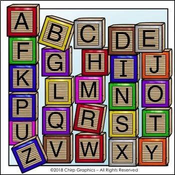 Wood Blocks Alphabet Clip Art Set - Chirp Graphics