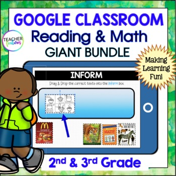 Google Classroom Activities | 2nd grade | 3rd grade | READING & MATH Bundle