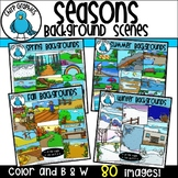 Seasons Background Scenes Clip Art Bundle - Chirp Graphics