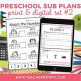 Pre-K Sub Plans (Preschool Emergency Substitute Plans) Set #2