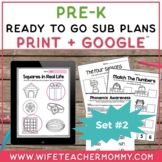 Pre-K Sub Plans (Preschool Emergency Substitute Plans) Set #2