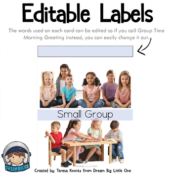 Visual Schedule Cards Editable for Preschool Transitions - Autism, Special Needs