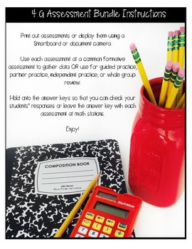 ** 4G CCSS Assessments - Includes 28 Questions for 4.G.A.1 4.G.A.2 4.G.A.3  **