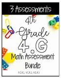 4G Math Assessments - Includes 28 Questions for 4.G.A.1 4.G.A.2 4.G.A.3
