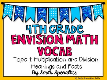 (4th Grade) Envision Math Vocabulary Posters: Topic 1
