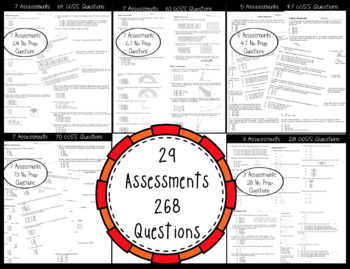 ☆ 4th Grade Math CCSS Standard Based Assessments for Year! 192 Questions! ☆