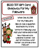 $5.00 TPT Gift Card Giveaway For My Followers