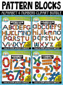 Alphabet & Numbers Puzzle Pattern Blocks Clipart Mega Bundle