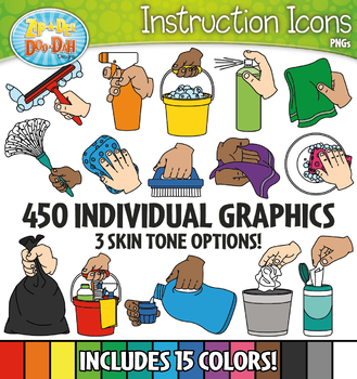 Cleaning Supply Hands Instruction Icons Clipart {Zip-A-Dee-Doo-Dah Designs}