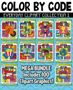 Color By Code Clipart Mega Bundle Collection 1