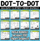 Holiday Dot-to-Dot / Connect the Dots Clipart Mega Bundle