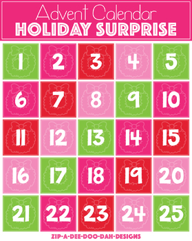 {$5 FLASH DEAL} Holiday Surprise Advent Clipart Calendar ($15.00 Value)