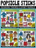 Seasons Popsicle Sticks Pictures Clipart Mega Bundle {Zip-