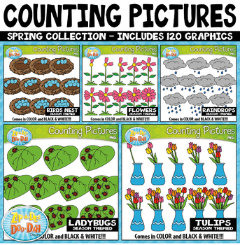 Spring Math Counting Pictures Clipart Mega Bundle