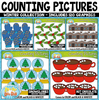 Winter Math Counting Pictures Clipart Mega Bundle