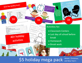 $5 Holiday Word Work Mega Pack (15 packets with 40+ activities)!!!!