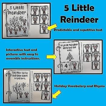 """""""5 Little Reindeer"""" An Adapted Interactive Book"""