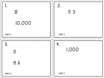 Patterns of Zeros (5.NBT.2) Task Cards