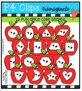 2D FUN Apple Core Shapes {P4 Clips Trioriginals Digital Clip Art}
