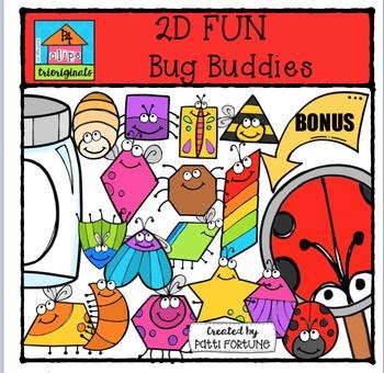 2D FUN Bug Buddies & BONUS {P4 Clips Trioriginals Digital Clip Art}