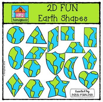 2D FUN Earth Shapes {P4 Clips Trioriginals Digital Clip Art}