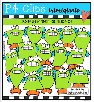 2D FUN Monsters  {P4 Clips Trioriginals Digital Clip Art}