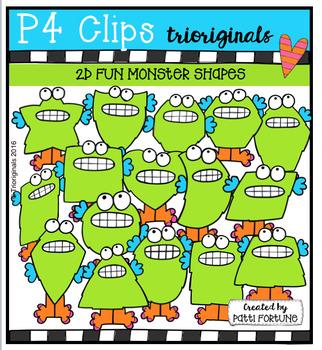 2D FUN Monsters  {P4 Clips Trioriginals Digital Clip Art}