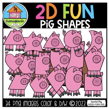 2D FUN Pig Shapes {P4 Clips Trioriginals Digital Clip Art}