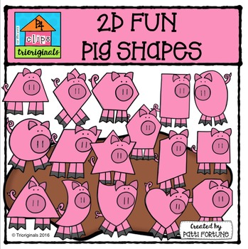 2D FUN Pig Shapes {P4 Clips Trioriginals Digital Clip Art}