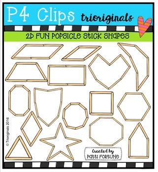 2D FUN Popsicle Stick Shapes {P4 Clips Trioriginals Digital Clip Art}