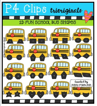 2D FUN School Bus Shapes  {P4 Clips Trioriginals Digital Clip Art}