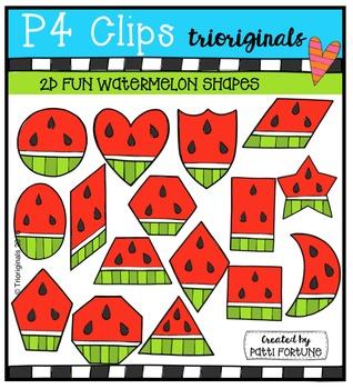 2D FUN Watermelon Shapes {P4 Clips Trioriginals Digital Clip Art}