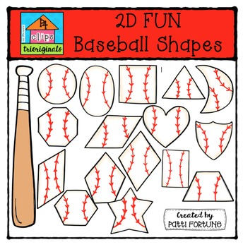 2D FUN baseball Shapes {P4 Clips Trioriginals Digital Clip Art}