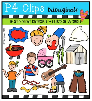 4 Letter Beginning Digraph Words {P4 Clips Trioriginals}