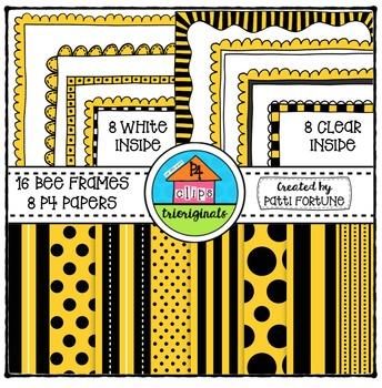 Bee Frames and P4 Paper {P4 Clips Trioriginals Digital Clip Art}