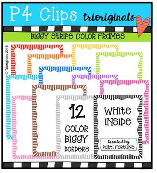 Biggy Color Stripe Borders {P4 Clips Trioriginals Digital Clip Art}
