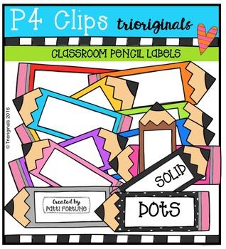 Pencil Frames / Labels  {P4 Clips Trioriginals Digital Clip Art}