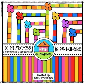 Cupcake Party Frames and P4 Paper {P4 Clips Trioriginals}