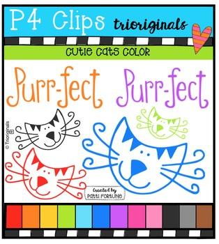 Cutie Cats Color {P4 Clips Trioriginals Digital Clip Art}