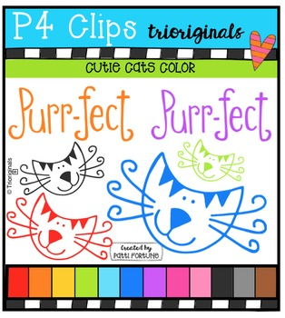 Cutie Cats Color {P4 Clips Trioriginals Digital Clip Art}