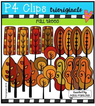 Fall Trees {P4 Clips Trioriginals Digital Clip Art}
