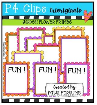 Garden Flower Frames {P4 Clips Trioriginals Digital Clip Art}