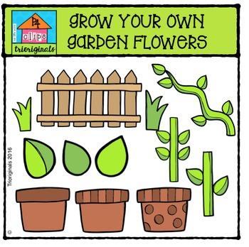 Grow Your Own Garden Flowers {P4 Clips Trioriginals Digital Clip Art}