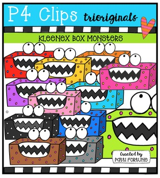 Kleenex Box Monsters {P4 Clips Trioriginals Digital Clip Art}