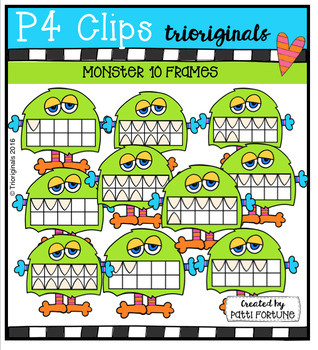 Monster 10 Frames {P4 Clips Trioriginals Digital Clip Art}