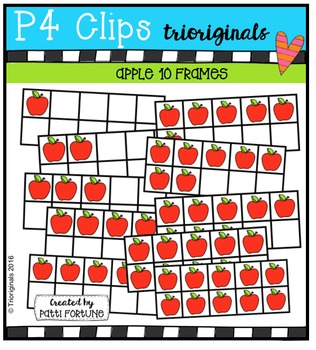 P4 10 FRAMES Apples {P4 Clips Trioriginals Digital Clip Art}
