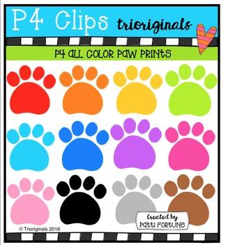 P4 ALL COLOR Paw Prints{P4 Clips Trioriginals Digital Clip Art}