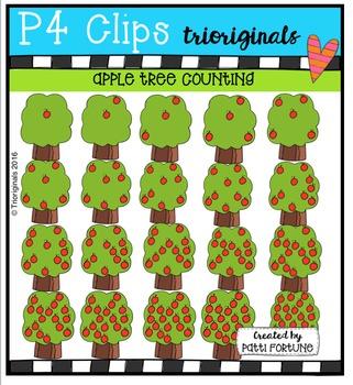 P4 COUNTS Apple Trees  {P4 Clips Trioriginals Digital Clip Art}